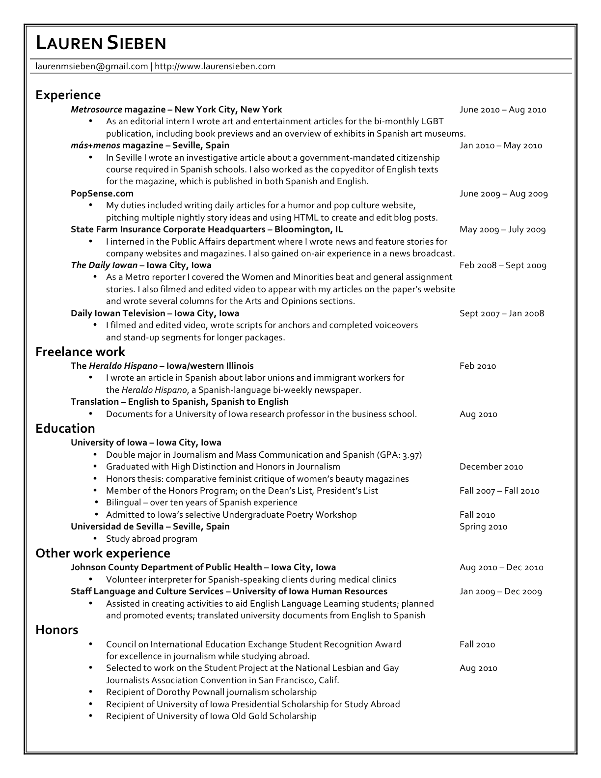 laurensieben website resume – Lauren Sieben