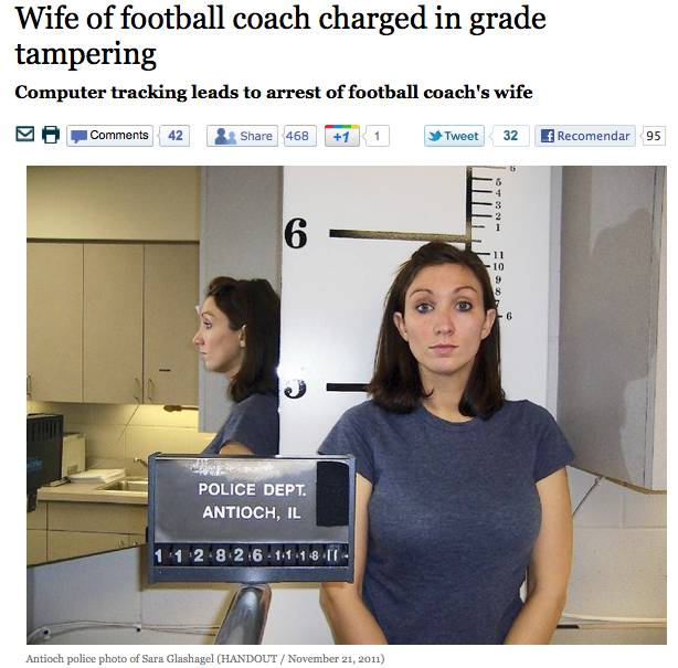Wife of football coach charged in grade tampering